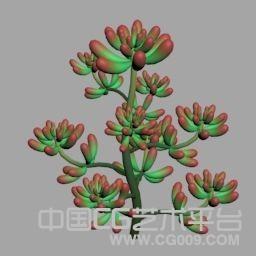 4种3d肉肉植物模型下载,带psd贴图