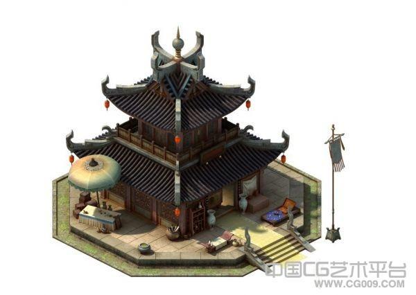 精品古建筑3d模型3渲2,2.5D建筑高模 带贴图
