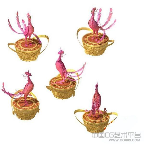 传说中的火凤凰3d雕塑模型下载