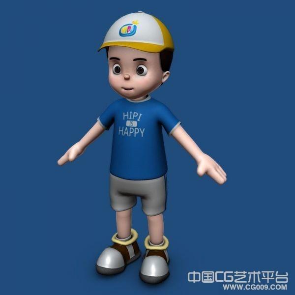 一个戴帽子哦的卡通男孩模型下载