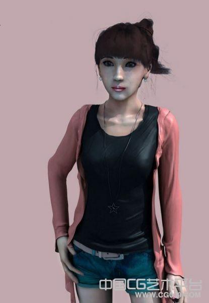带绑定的写实女大学生maya模型下载
