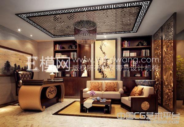 中式书房室内模型一套 带贴图
