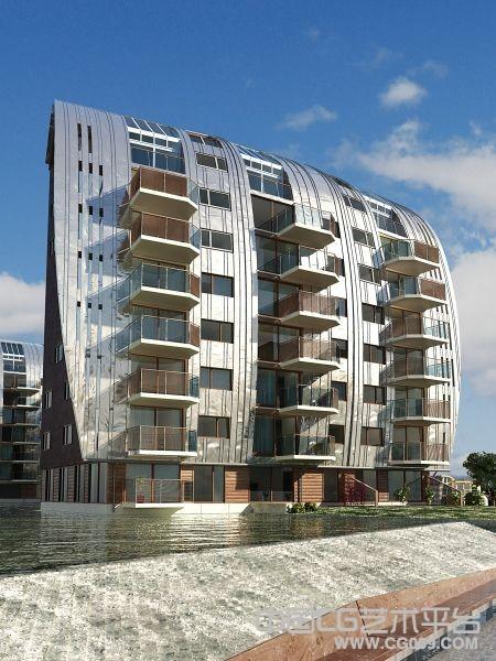 高品质水上单身公寓3d建筑模型下载