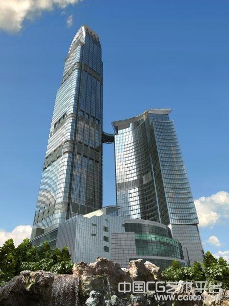高层玻璃写字楼3d建筑模型  带贴图
