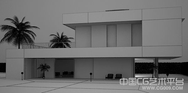 安静的夜景建筑效果模型下载