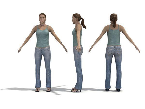 多套牛仔背心女性写实posde模型下载