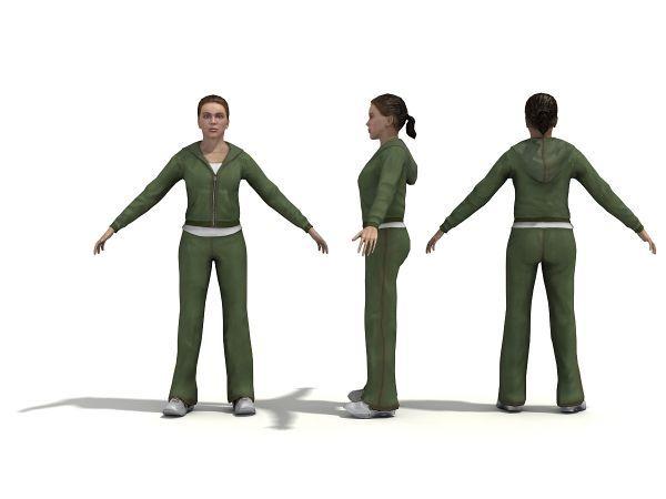 户外运动女孩全套动作模型下载  穿运动装的女