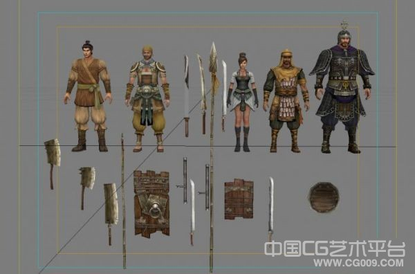 【苍天】几个将军人物模型+兵器道具模型下载