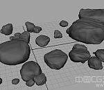 一堆石头模型下载  溪水边的石头3d模型下载