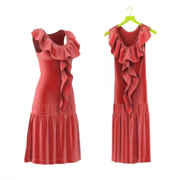 高品质红色裙子3d衣服模型下载