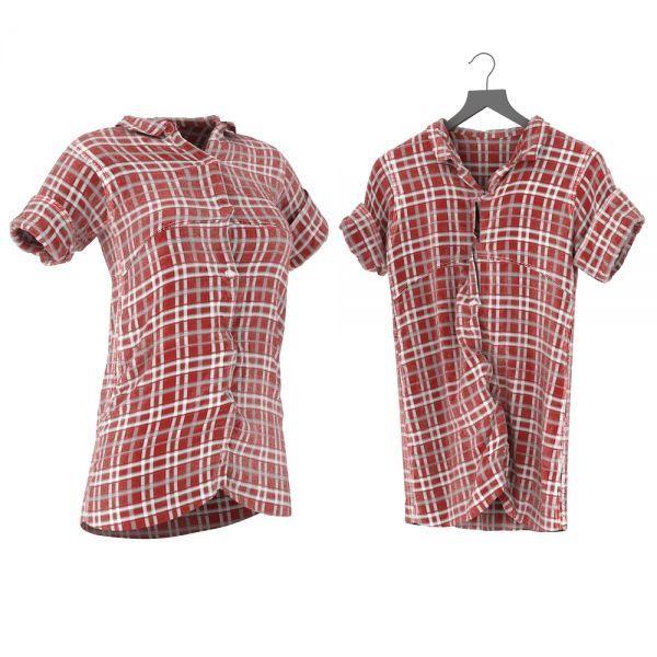 红格子衬衫3d衣服模型下载