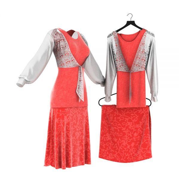V领上衣+红色短裙3d模型下载