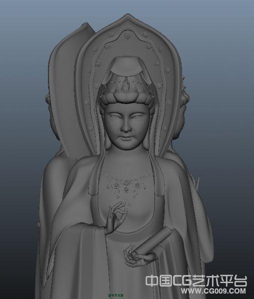 南海观音像3d雕塑模型下载