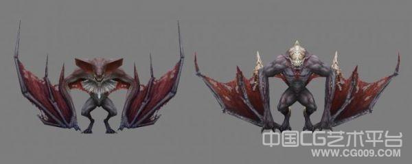 2只蝙蝠怪物模型下载