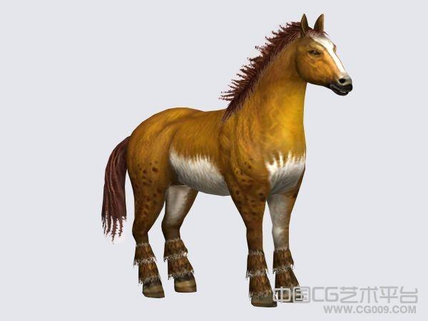 黄色战马3d动物模型下载