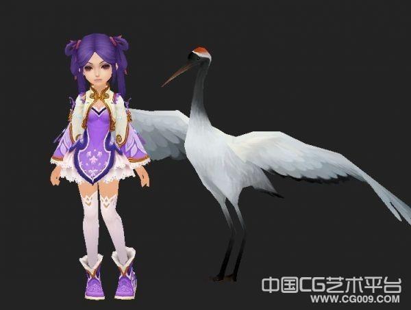卡通萝莉MM+仙鹤坐骑模型下载