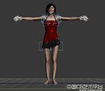 写实红裙女人模型下载