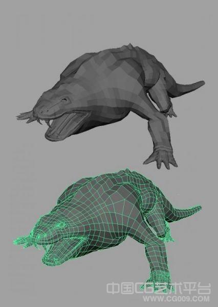 很不错的大型蜥蜴maya模型 布线不错