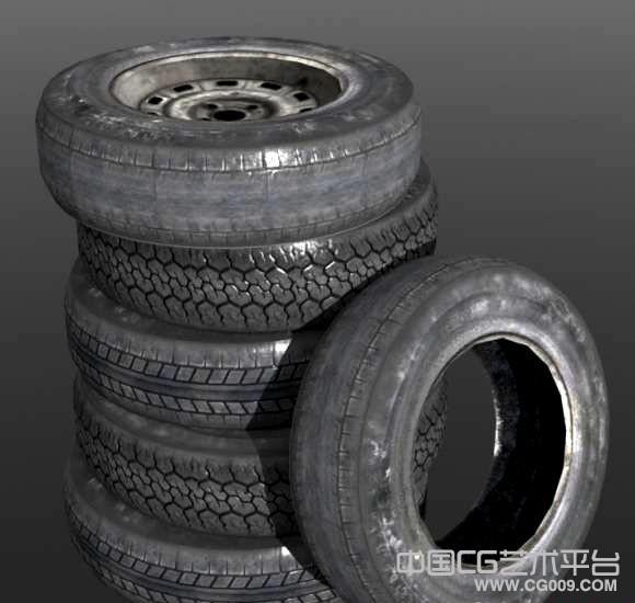 一堆3d轮胎场景模型下载