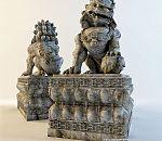 一尊非常精细的石雕狮子模型下载,3d石狮模型