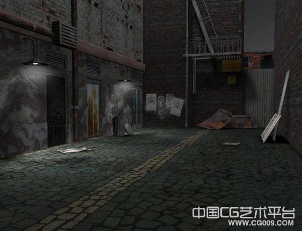 写实的破旧巷子场景废弃工厂老房子街景模型下