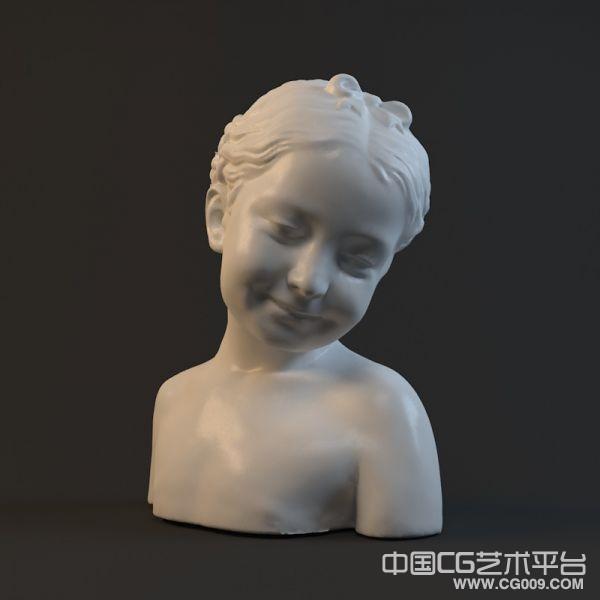 半身小女孩雕像模型下载