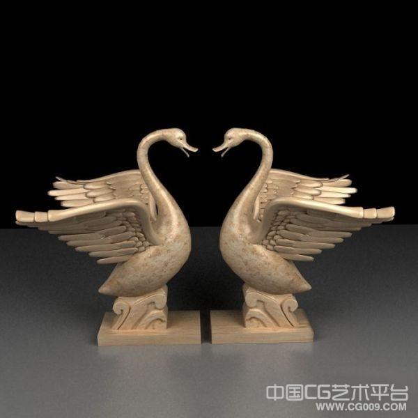 双鹅戏水雕像模型下载