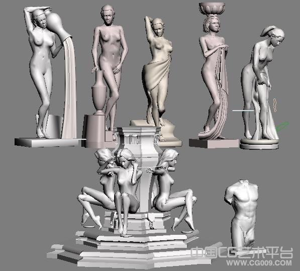 西方6位女神3d雕像模型合集下载