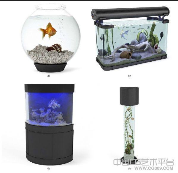 4条宠物鱼+4个不同的鱼缸模型下载