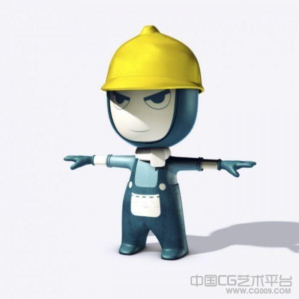 maya卡通工人形象模型下载
