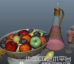 果盘和酒杯maya写实模型下载
