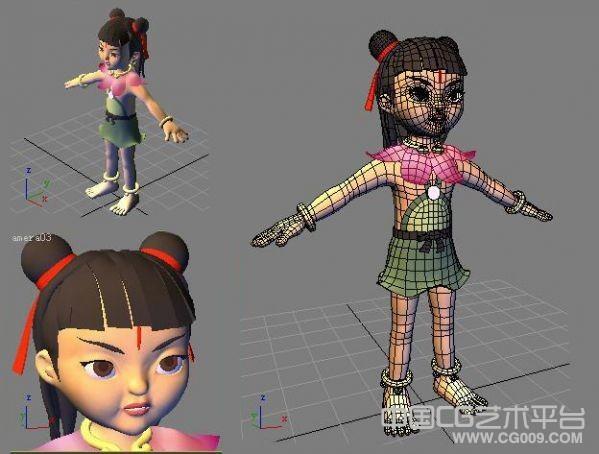 maya哪吒卡通模型下载