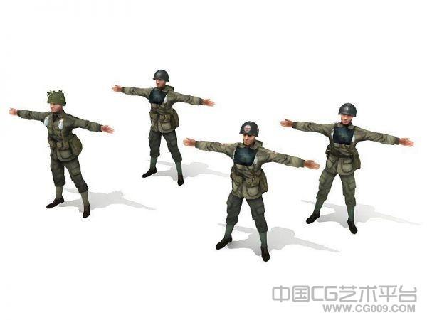 一组二战盟军士兵3d模型下载