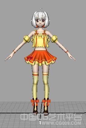 maya萝莉模型、3d卡通模型、短发蓬蓬裙女孩模型