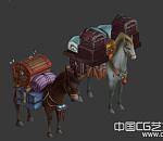 2匹拉货的驴3d模型下载   3d小驴动物模型下载