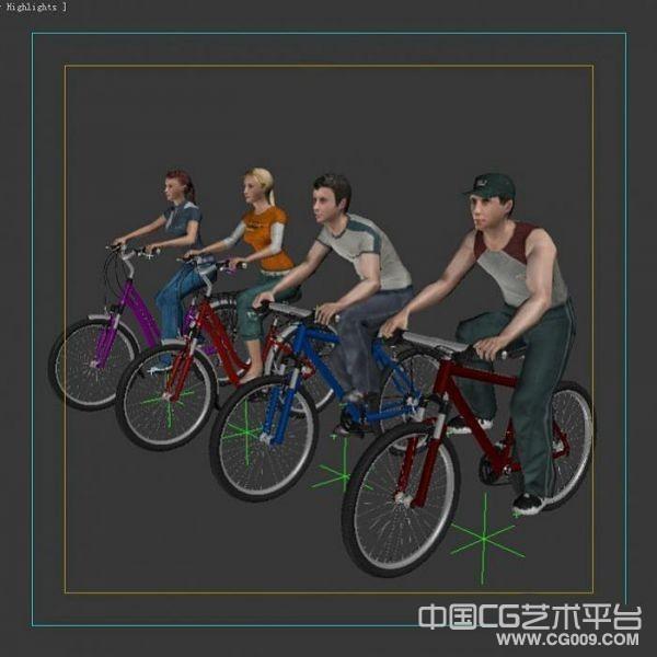 带绑定的男女骑自行车模型下载  骑自行男女模