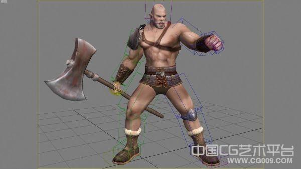 拿斧头的猛将模型 手绘贴图 有绑定 有动作