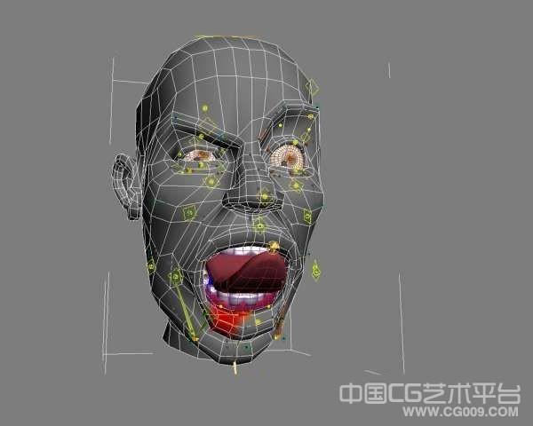3dsmax头部绑定模型脸部表情动画舌头动作 带绑定