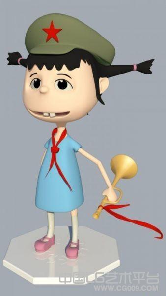maya卡通女孩模型 红领巾maya女孩模型下载