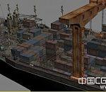 大型集装箱货轮3d模型 货运轮船模型