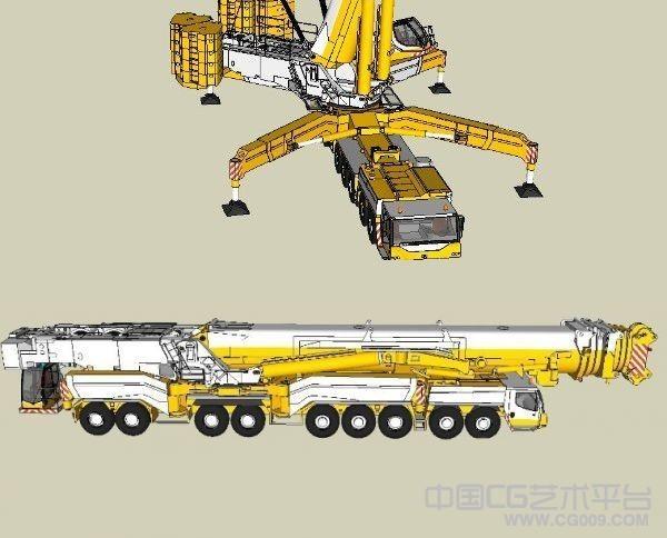 超级大型吊车3d模型下载 带贴图
