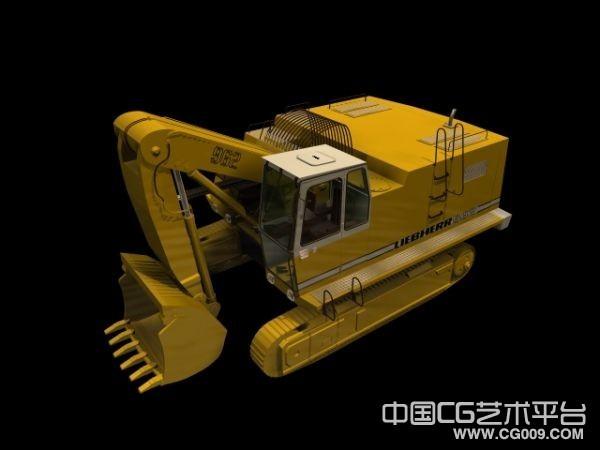 黄色挖掘机3d模型下载,小型挖土机模型下载  带