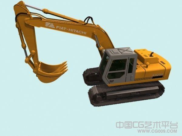 大型挖掘机3d模型,挖土机模型带贴图