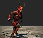古代日本武士铠甲套装3d模型 带跑步动画