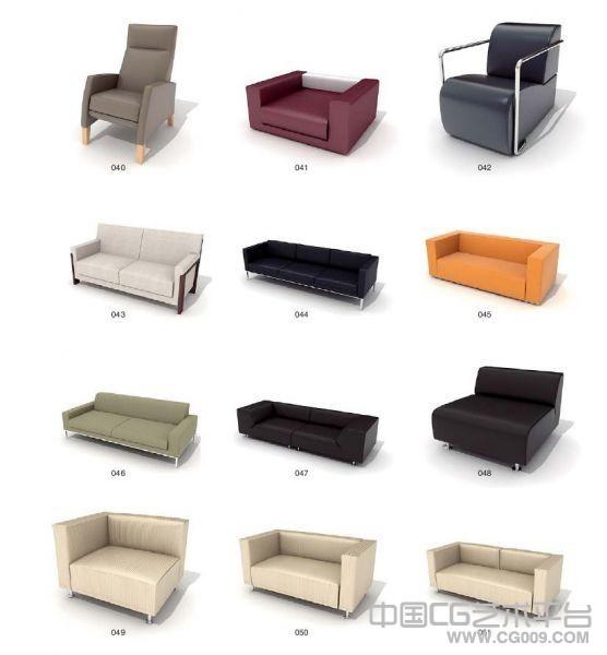 客厅单个沙发双人沙发以及三人沙发模型下载