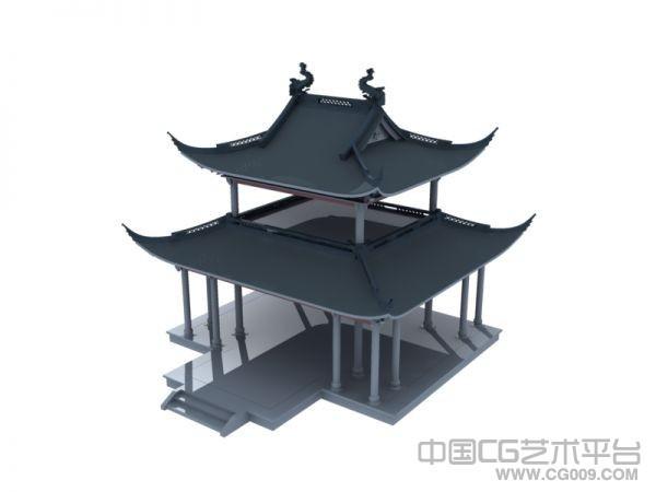 戏台古建筑3D模型下载