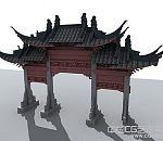 牌坊3D模型古建筑MAX源文件中式建筑模型下载