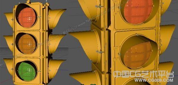 交通信号灯红绿灯c4d模型下载
