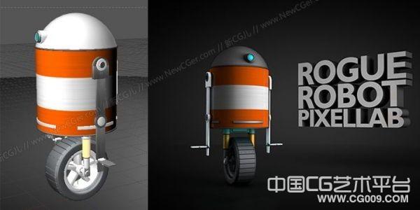 单轮胎圆形帽子机器人C4D模型下载