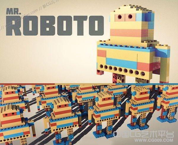 方盒子可爱机器人C4D模型下载